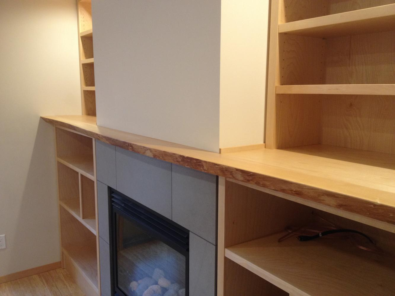 Local Live Edge Birch Mantle And Book Shelves For